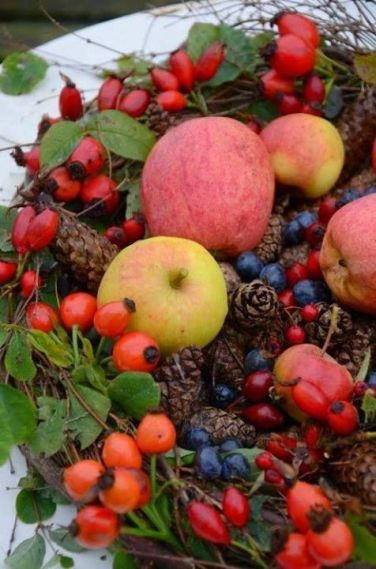 Decoratiune de toamna -mere macese si conuri