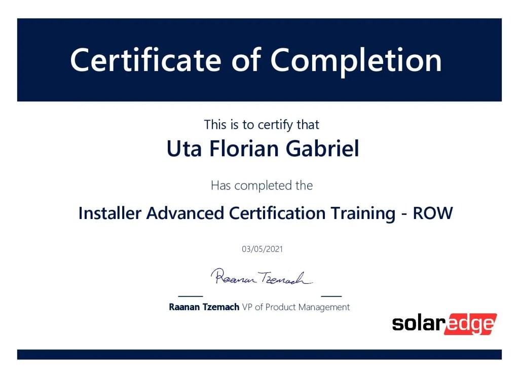 Certificat SolarEdge page 001