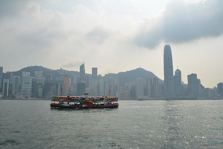 hongkong skyline with boat
