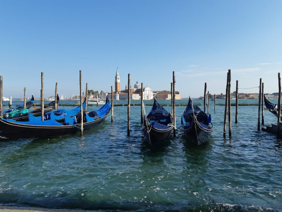 gondolas in the water in Venice