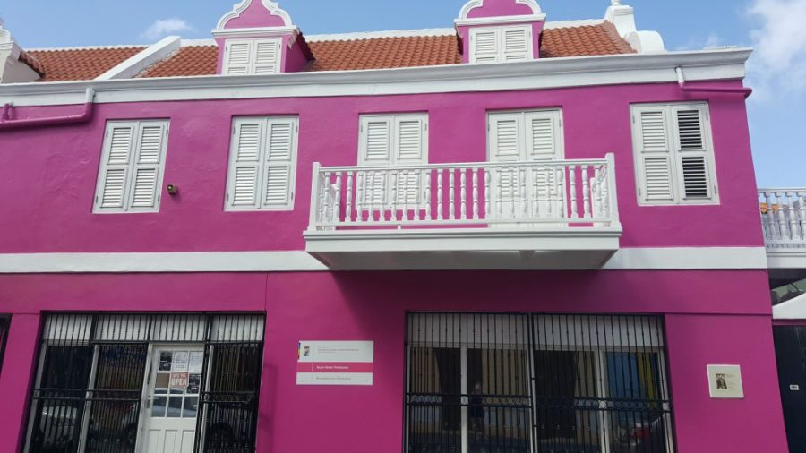 Pink house in Willemstad Curacao