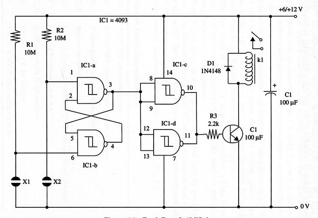 Touch Turn On and Off Relay Using the 4093 IC (ART191E)