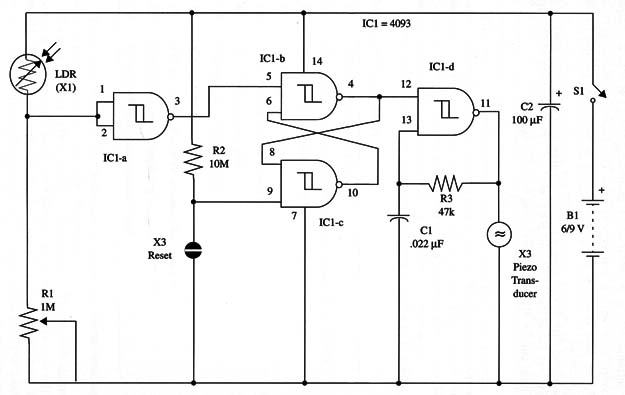 Bistable Light Alarm With the 4093 IC (ART197E)