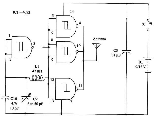 3 to 4 MHz CW Transmitter Using the 4093 (TEL044E)