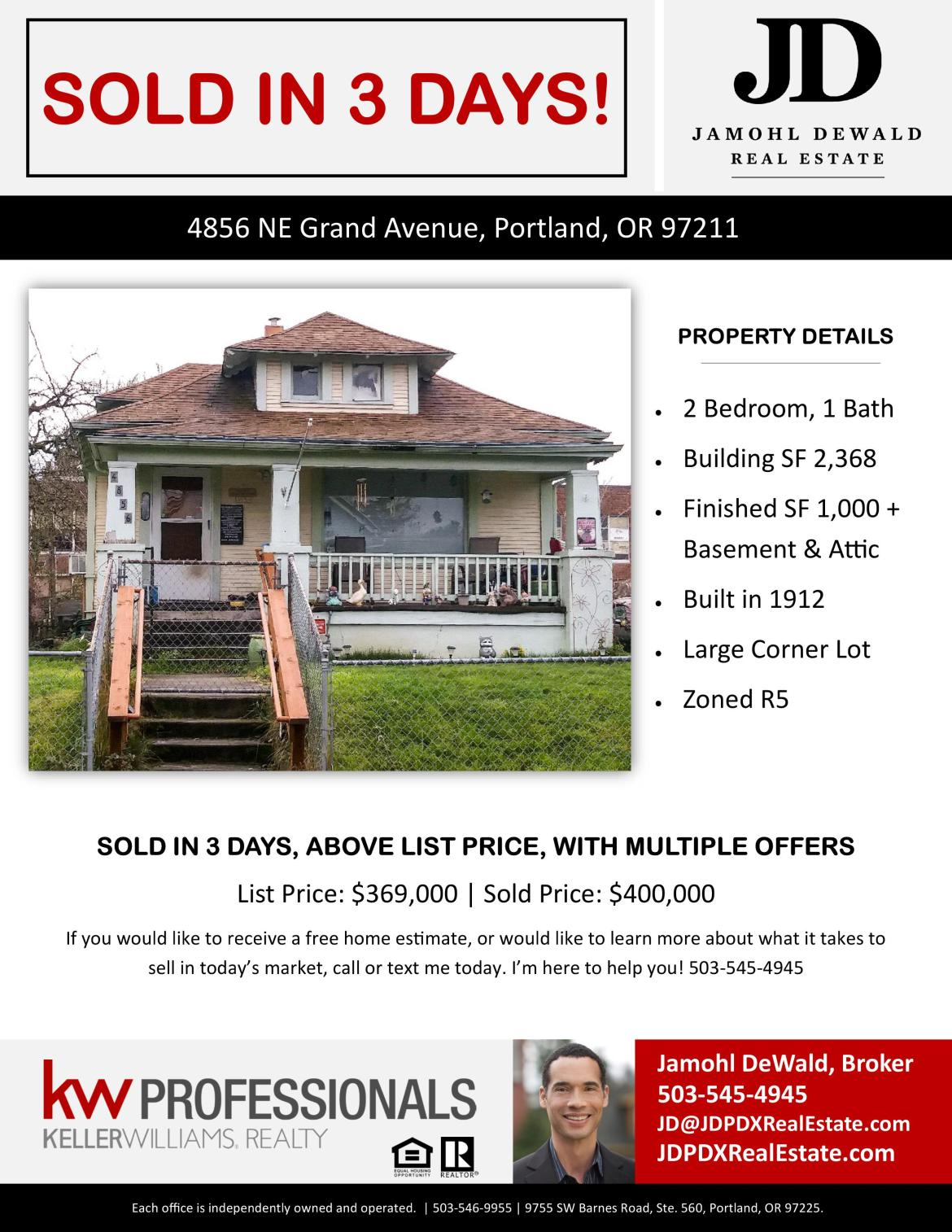 SOLD JDPDXRealEstate 4856 NE Grand Ave Portland OR