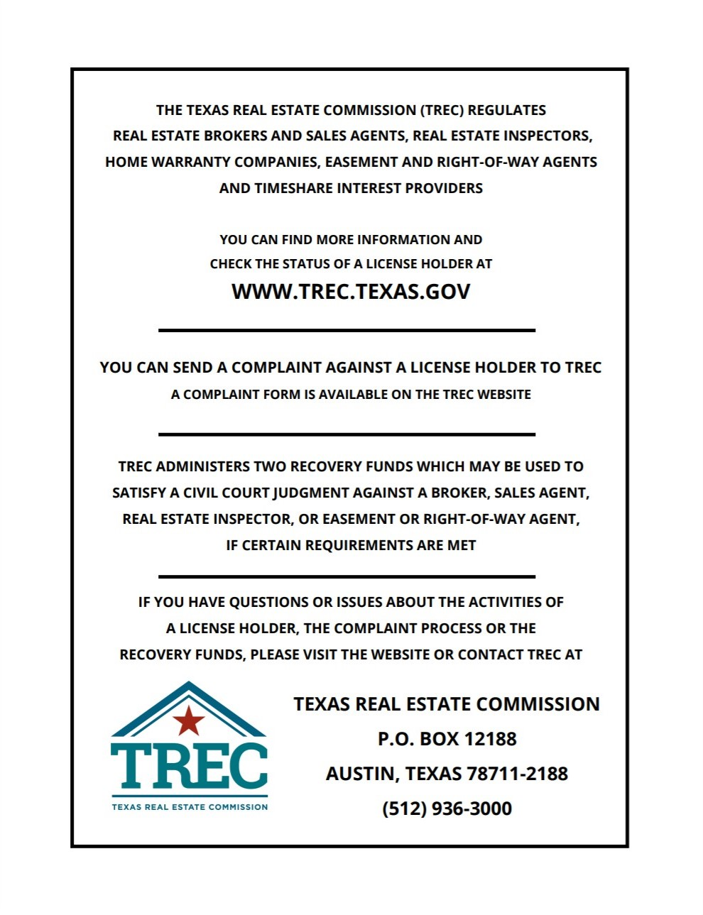 Texas Real Estate Commission Consumer Protection Notice