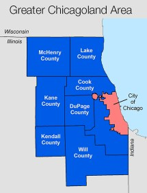 Chicago Area County Map