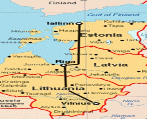 The picture highlights the geographical map of the three states of the Baltic Republics. The article refers above all to the stock market in Latvia.