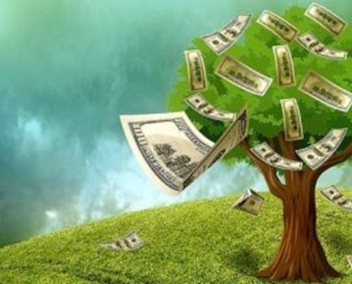The image shows a lush tree with lots of banknotes instead of fruits and many others fluttering in the wind.