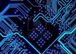 The picture highlights a part of an electronic circuit, to represent the semiconductor industry