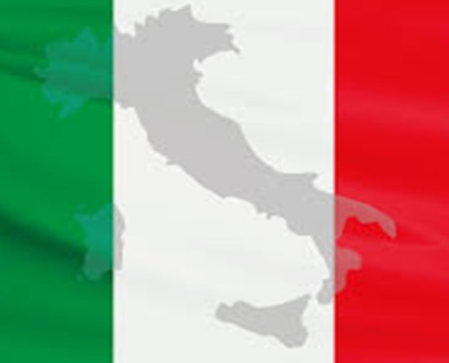 The pictures shows the flag and country of Italy