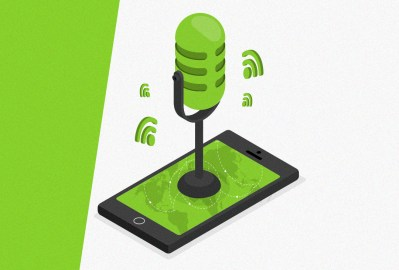 Microfone de rádio saindo do celular