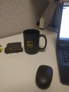 My desk at UPS. I got my own package car!