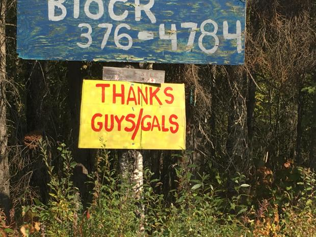 Thank you sign on the McKinley fire.