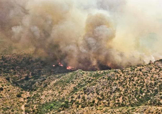 fire burning over desert vegetation with smoke column