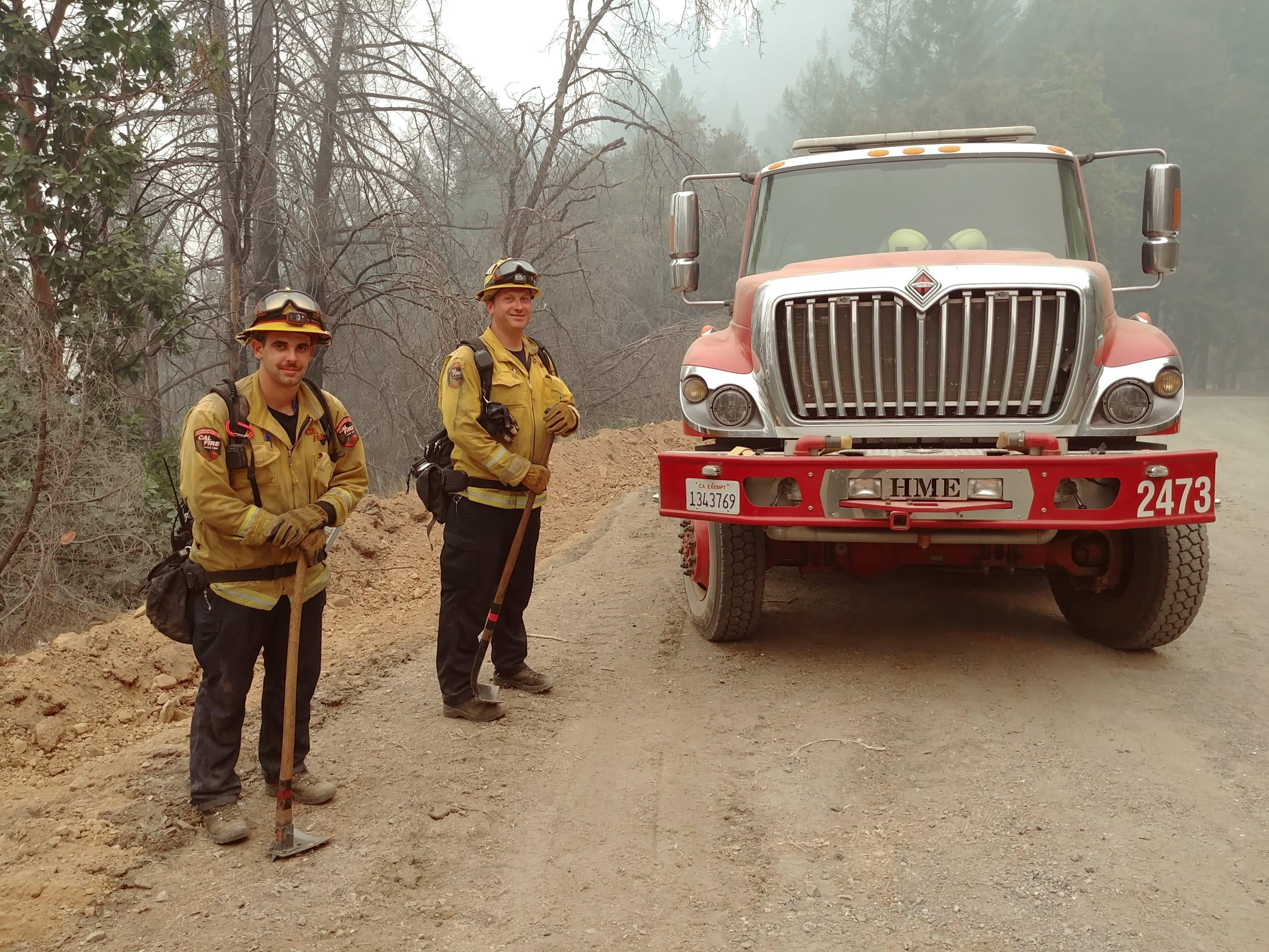 Monument Fire - Photo of a CalFire engine and crew.