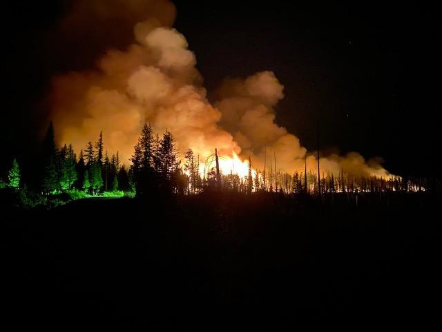 Night time burning operation along road on Lick Creek Fire.