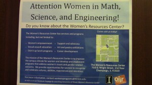 Poster in the Women's Resource Center promoting awareness.