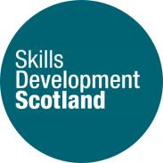 Logo: Blue circle with white writing 'Skills Development Scotland'