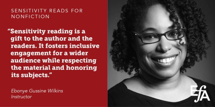 Graphic of Ebonye's June 5, 2019 webinar on sensitivity reads for nonfiction