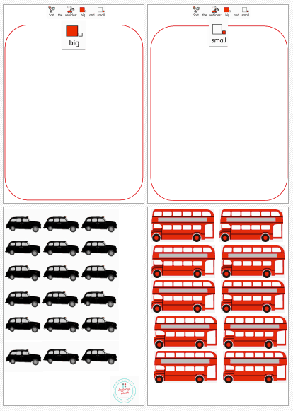 Sort taxi and bus worksheet