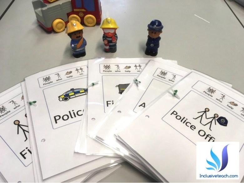 Teacch communication Firefighters SEN workbooks widgit symbols.