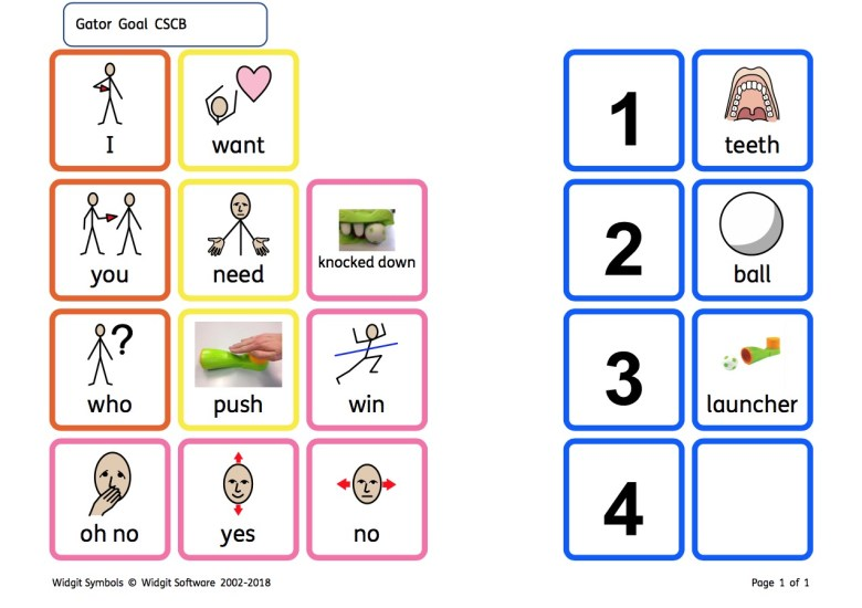 Gator Goal Free communication Autism RPrintable resources