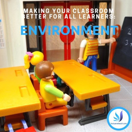 Inclusiveteach logo in corner Playmobil children around classroom table
