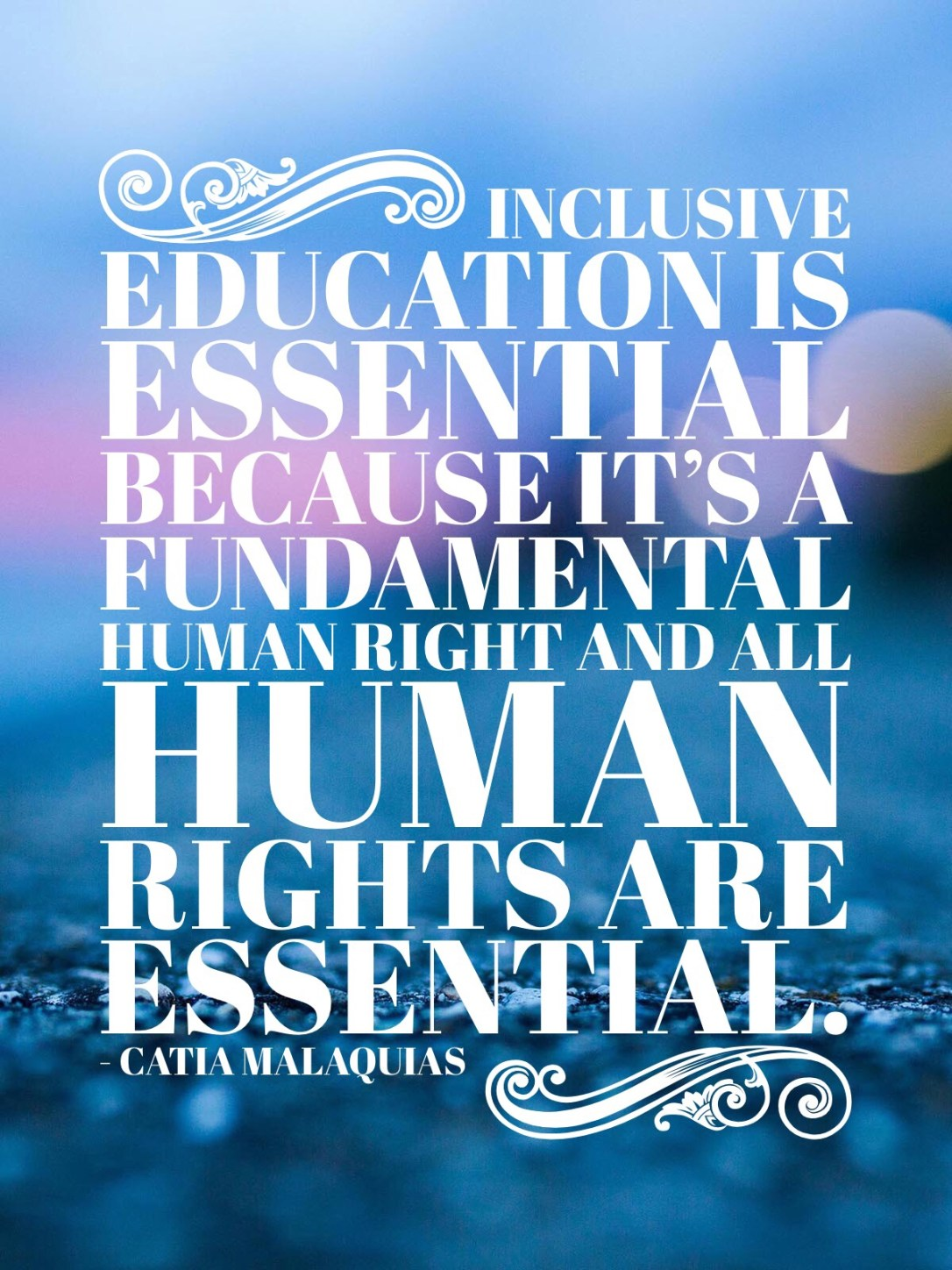 Inclusive education is essential because it's a fundamental human right and all human rights are essential.  - Catia Malaquias