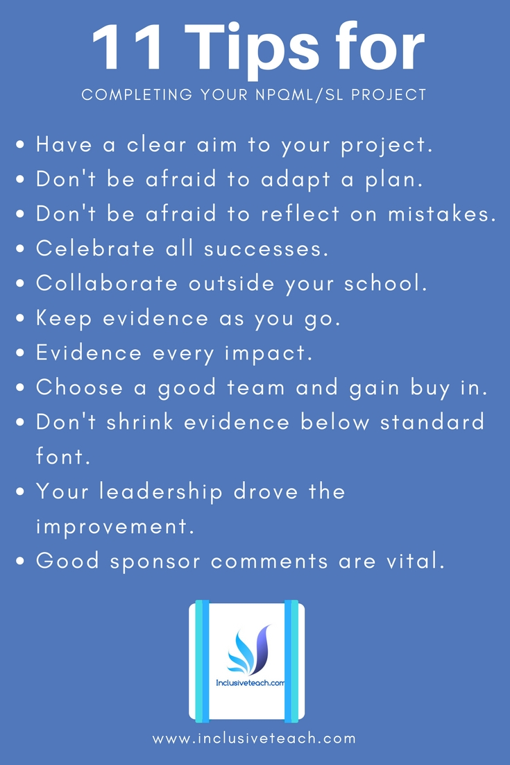 Infographic Completing your NPQSL NPQML project