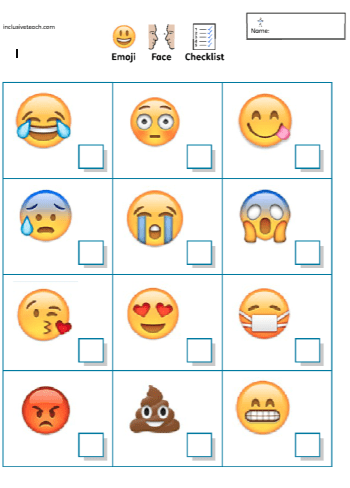 emoji emotional regulation SEN worksheet