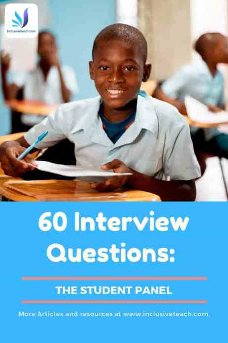 60 student interview questions school education