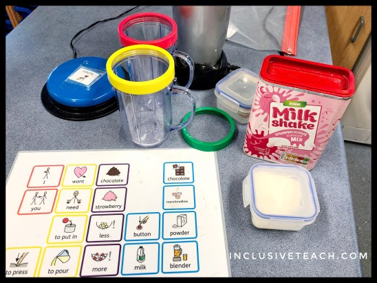 Making milkshakes accessible sensory play
