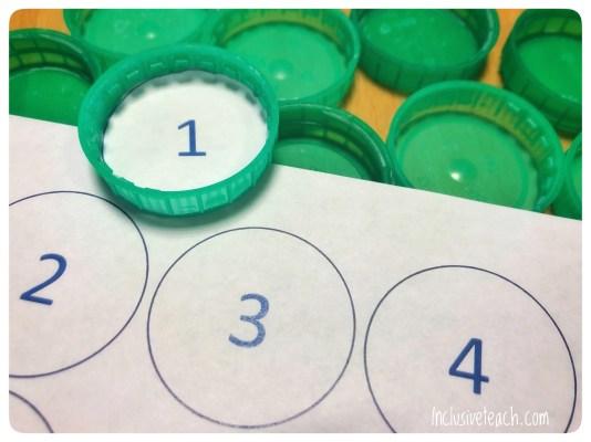 Milk bottle lid maths manipulatives 1-10
