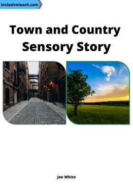 Town and country sensory story booklet front cover tree in a field with blue sky and an urban street with cobbled road and industrial victorian buildings