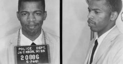 now U.S. Congressman John Lewis, taken in 1961, after he was arrested for using a Whites Only bathroom in Mississippi