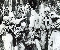 Scene from the racist propaganda film W. E. Griffith's Birth of a Nation, a movie that fabricated Reconstruction to the white supremacists