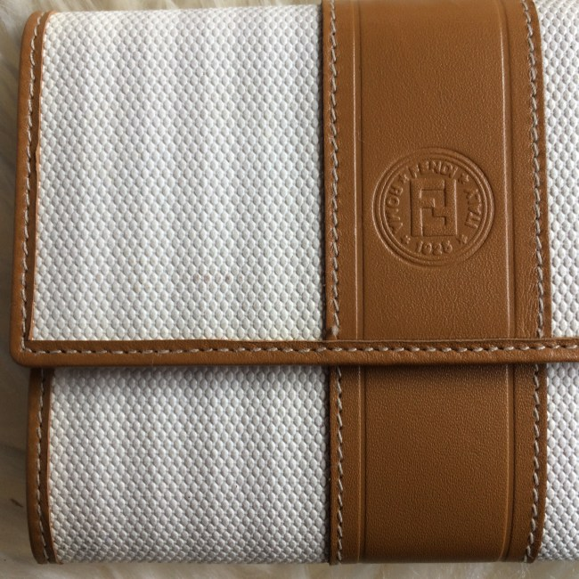 Fendi white wallet closeup
