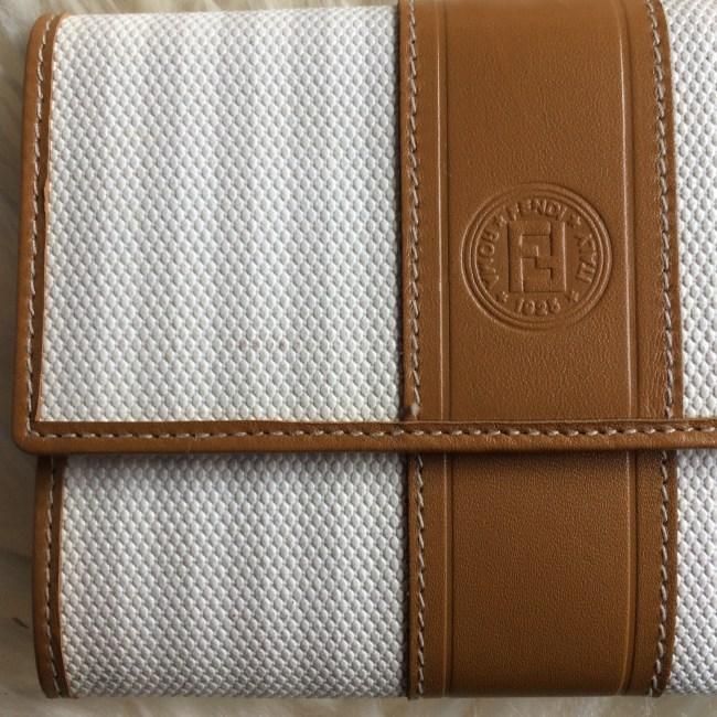 Fendi white wallet closeup