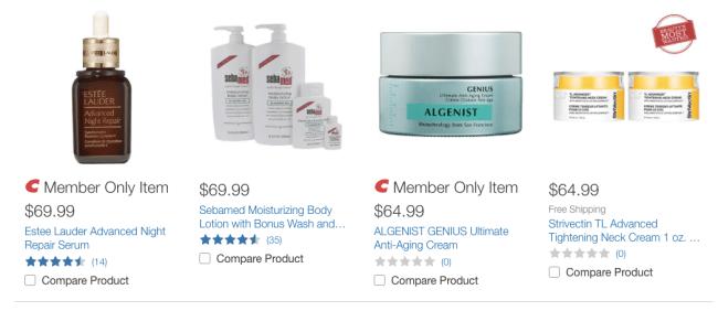 costco, beauty, skin care