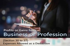 [Section 30 to 37]- Expenses Allowed as a Deduction  for computing Income under 'Profit & Gains of Business or Profession'