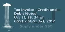 Tax Invoice , Credit and Debit Notes under Section 31, 33, 34 of CGST / SGST Act, 2017