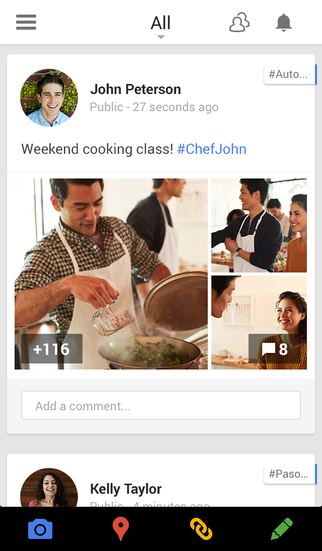 La app de Google Plus para iOS, con sus avatares redondos.