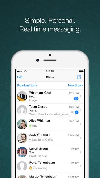 Vista de lista de chats en Whatsapp para iOS.