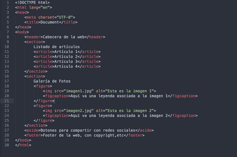 Ejemplo estructura HTML 5