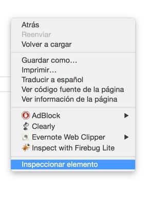 Menú contextual en Chrome para inspeccionar elemento.