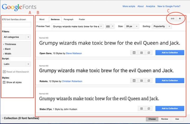 El interfaz de Google Fonts