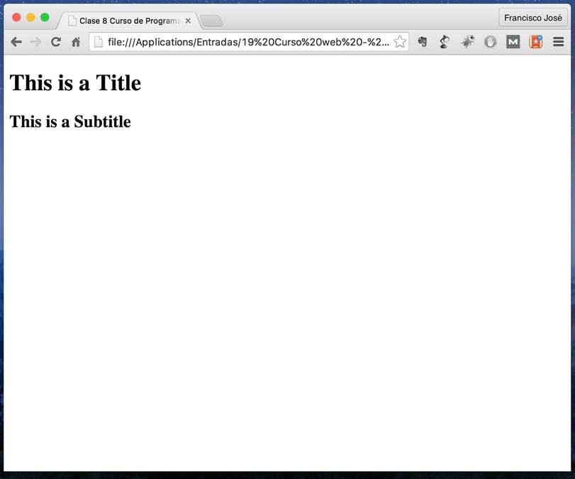 Nuestro index.html el ejemplo en Chrome