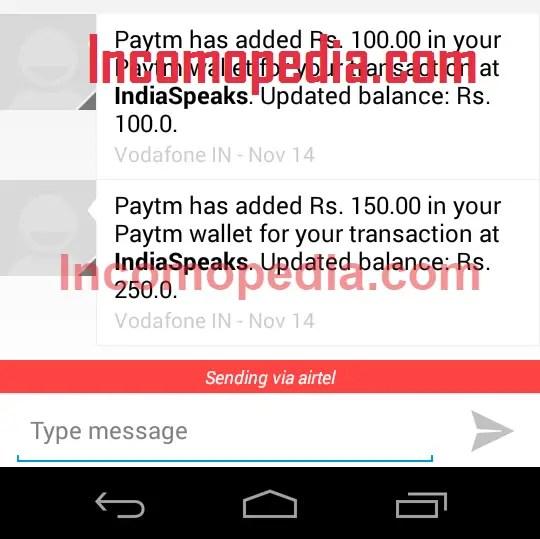 IndiaSpeaks Payment Proof