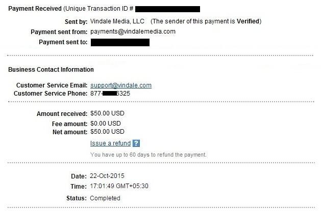 Vindale Research Payment Proof